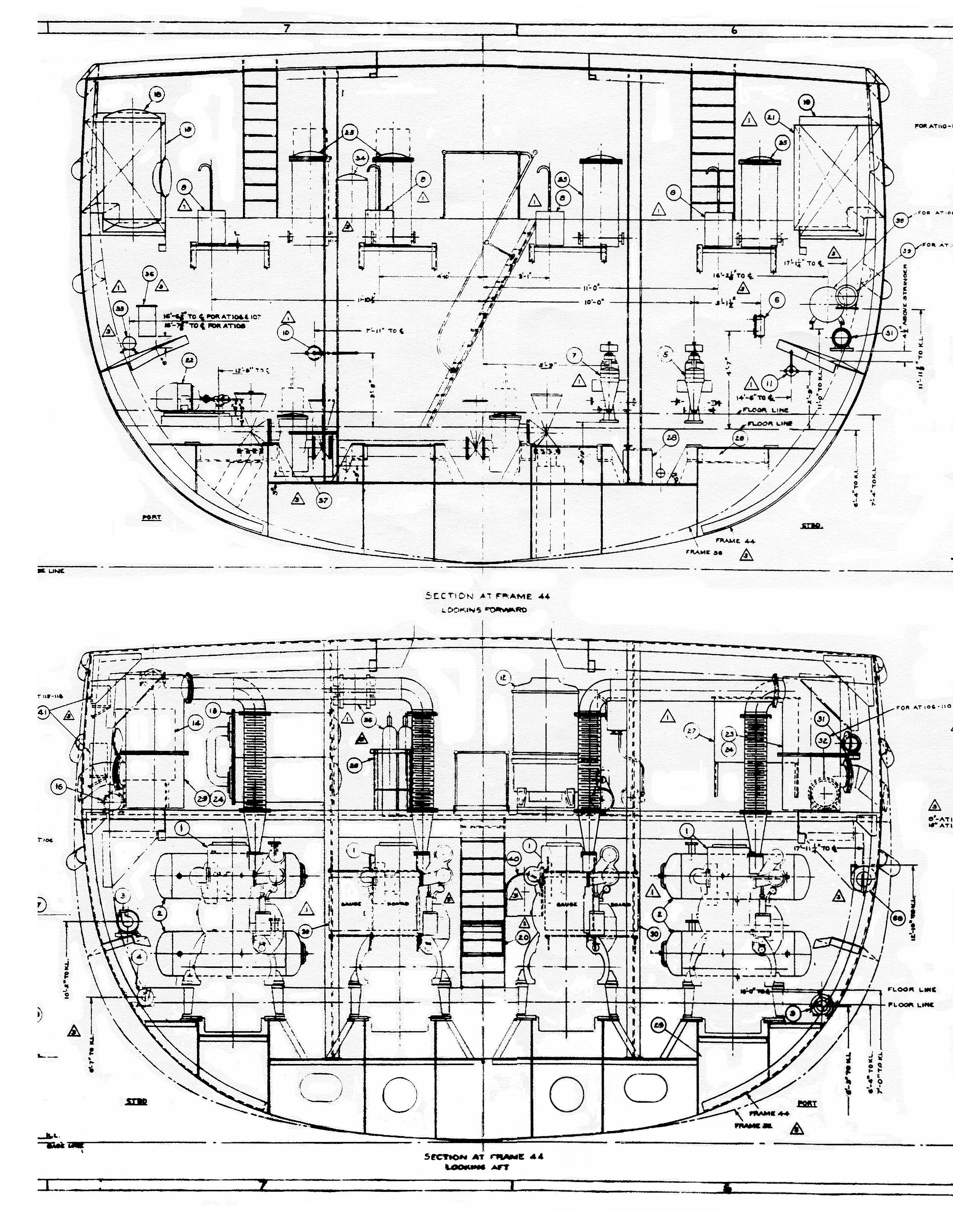 This is a cross-section of the engine room from frame 44, showing the main  engines. Note the exhaust configuration.
